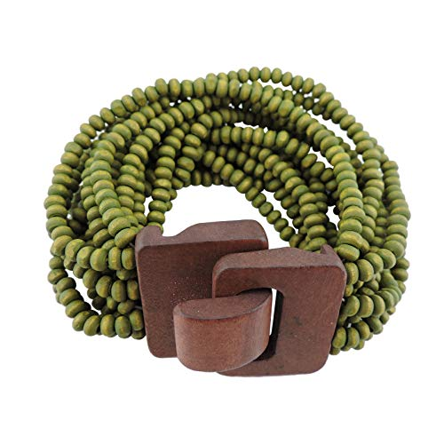 (Coiris Wooden Buckle Clasp Multi Layers Wood Beads Wide Wrap Bracelet for Women with Elastic (BR1199-Greenery) ...)