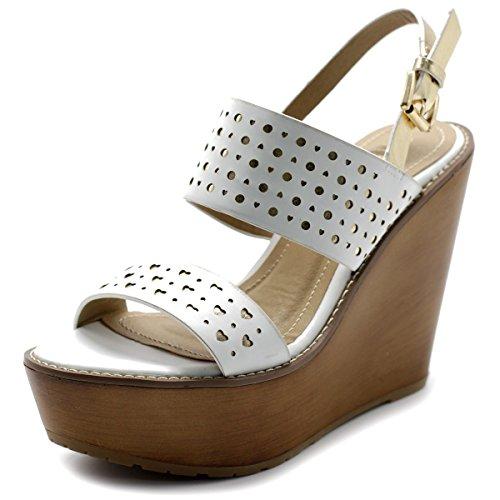 - Ollio Womens Shoe Metallic Cutout Burnished Wedge Heel Sandal FT05(9 B(M) US, White)