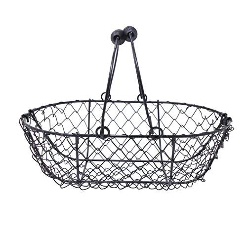 EggBaskets Wire Egg Basket, Egg Gathering Basket - Liam, Vintage Black