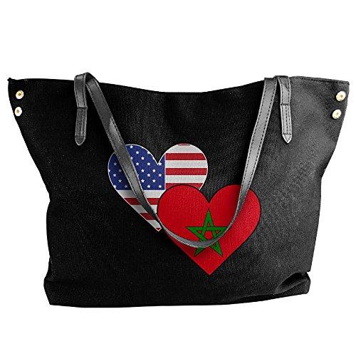 Tote Women's Hobo Large Morocco Canvas Shoulder Heart Black Flags Bag American Handbag EqSwHqnpA