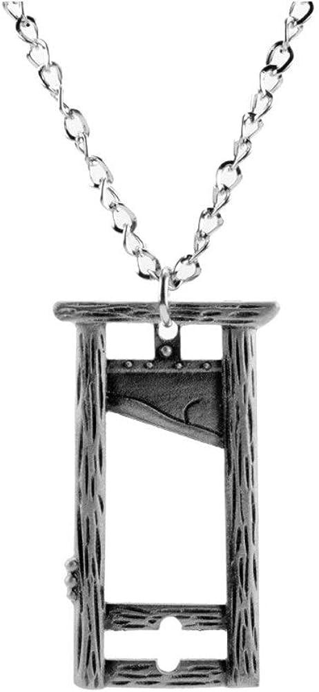PJGS-UK Regalos de la joyería del Collar de la Vendimia de Guillotina Puerta de los Hombres de la Vendimia Revolución Creepy Art Colgante Collar de Huecos Delicado Collar