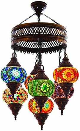 Turkish Authentic 5 Globe Mosaic Chandelier Lamp Moroccan Lantern Stained Glass
