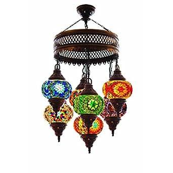 Turkish Authentic 7 Globe Mosaic Chandelier Mosaic Lamp Moroccan