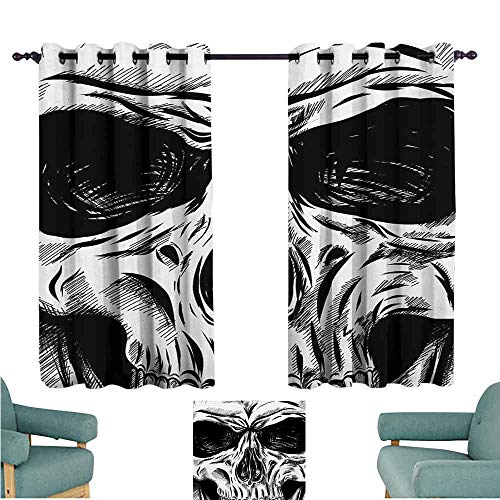 DONEECKL Warm Curtain Halloween Gothic Dead Skull Face