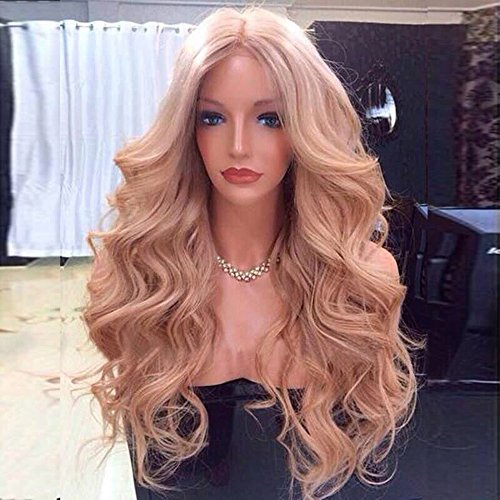 Brazilian Virgin Human Hair Lace Front Wig Color #27 Blonde Human Hair Wig Glueless Body Wavy For Fashion Women 130 Density (18 (27 Glueless Lace)
