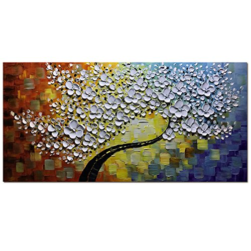 - Asdam Art Paintings- 20X40 inch Hand-Painted Abstract Wall Art Tree Painting on Canvas Modern Artwork Home Wall Decor Paintings for Living Room White