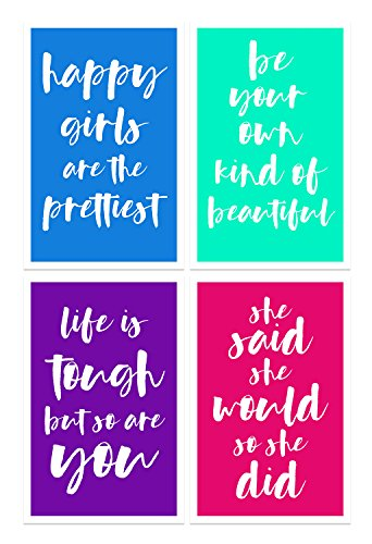 Damdekoli Girls Motivational Quote Posters, Set of 4, 11x17 Inches, Feminist Inspirational, Cute Gift Bedroom