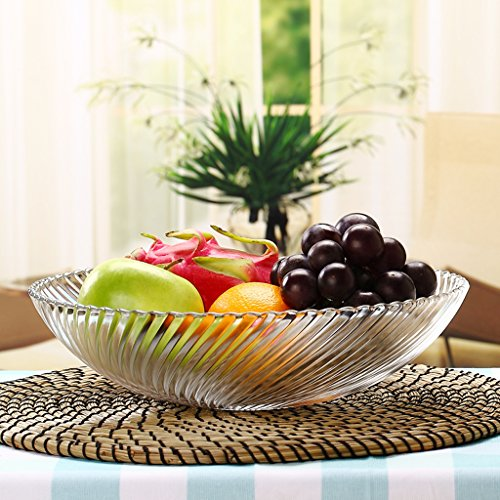 (modern European style glass fruit dish Fruiting coffee table Home Decoration Fruit basket fruit Dried fruit plate Medium number)