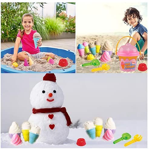 Tcvents Beach Toys Ice Cream Mold Set Sand Toys 18 Pieces for Kids 3-10 with Large Beach Toy Bucket Pail for Kids and Toddlers