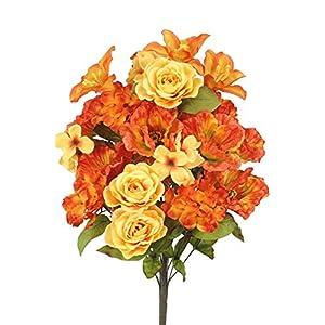 Admired By Nature GPB6328-TANGERINE 2 Piece 24 Stems Home Office/Wedding/Restaurant Decoration Arrangement Poppy/Rose/Hydrangea Mixed Flowers Bush, Large, Tangerine 96