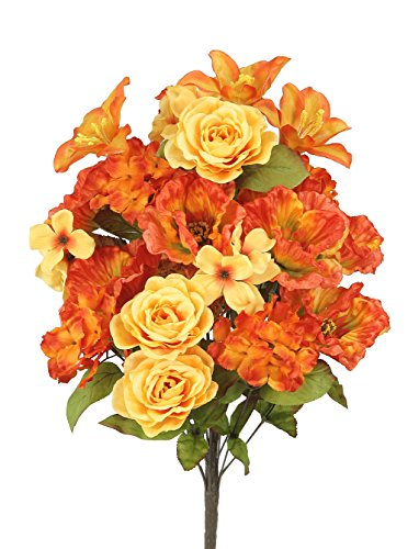 Admired By Nature GPB6328-TANGERINE 2 Piece 24 Stems Home Office/Wedding/Restaurant Decoration Arrangement Poppy/Rose/Hydrangea Mixed Flowers Bush, Large, Tangerine