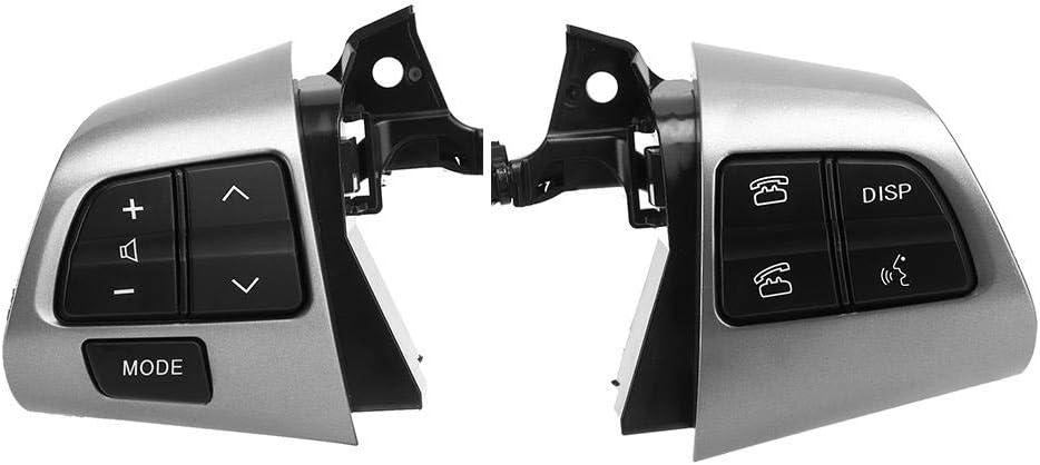 Gorgeri 1 par de botones del volante, izquierdo + derecho del volante El botón del interruptor de control de crucero se ajusta para 2010-2013(Plata)