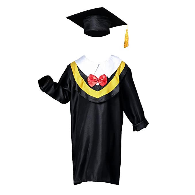 Amazon.com: OULII Children Graduation Cap and Gown (Yellow Line ...