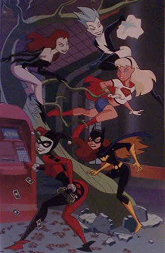 DC Comics Animated Batman Art Print featuring Harley Quinn, Poison Ivy, Supergirl, Batgirl by Bruce Tunn - Matted to 8 x 10 Inches.