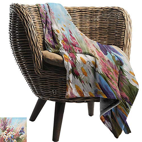 Sillgt Super Soft Blanket Flower Colorful Tulips with Green Leaves in Keukenhof Gardens Painting Style Artwork Image car/Airplane Travel Throw 70