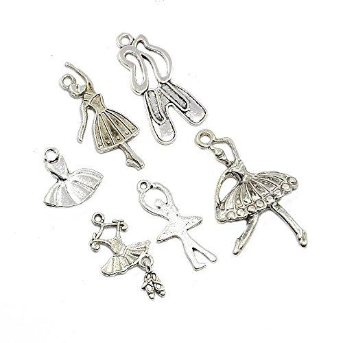 Pandahall Ballet Antique Silver Pendants