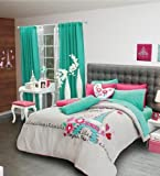 Limited Edition PARIS Bedding Collection - Reversible Comforter Set, Sheet Set and Window Panels (TWIN)