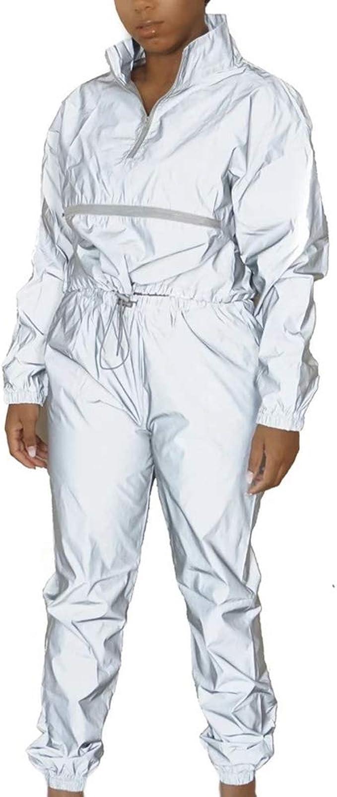 Conjunto de 2 Piezas Reflectantes para Mujer Tops y Pantalones de ...