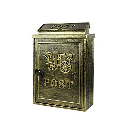 TLMY European Letter Box Outdoor Rainwater Villa Mailbox Wall Hanging Lock Postbox Large Rural Creative Letter Box (Hand Painted Rural Mailbox)