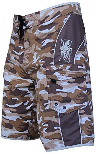 Maui Rippers Men's Camo Board Shorts (36, Tan)