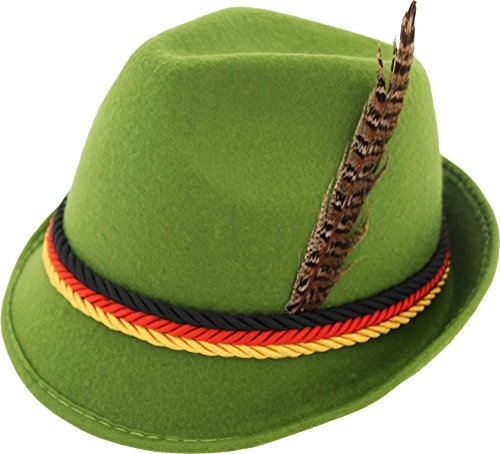 [German Alpine Bavarian Oktoberfest Green Costume Hat with Feather (Green)] (Oktoberfest Costumes Hat)