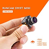 RunCam Swift Mini 600TVL FPV Camera 2.1mm Lens OSD DC 5-36V FOV 165 Degree CCD NTSC IR Blocked with Mount for Racing Drone Balck with 1 PCS LED BAR
