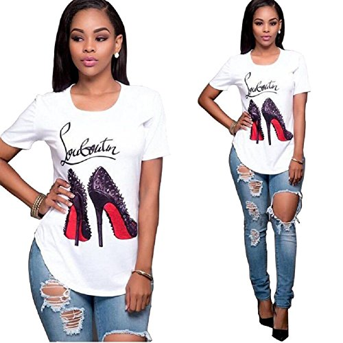 (Topways Women Short Sleeve Round Neck Graphic Print T Shirt Casual Blouse, High Heels (2X-Large) White)
