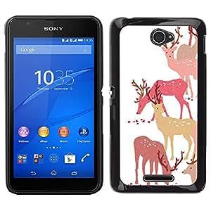 Sony Xperia E4 Único Patrón Plástico Duro Fundas Cover Cubre Hard Case Cover - Deer Art Forest Animal Autumn Pack