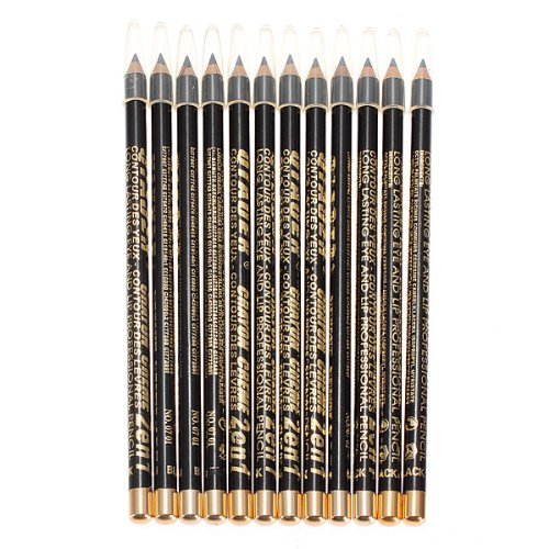 12pcs Black Makeup Cosmetic Eyeliner Eyebrow Pencil Waterproof