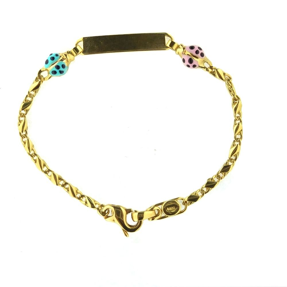 18K Yellow Gold ID Bracelet with Blue and Pink Enamel Lady Bugs 6 Inches