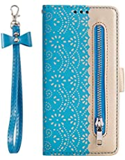 Miagon for Huawei P40 Pro Zipper Case,Magnetic Wallet Flip Lace PU Leather with Wrist Strap Handbag Pocket Stand Cover,Blue