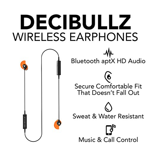 Decibullz - Custom-Fit Bluetooth Wireless Headphones, The First Custom Molded Wireless/Bluetooth Earphones (Orange) by Decibullz (Image #4)