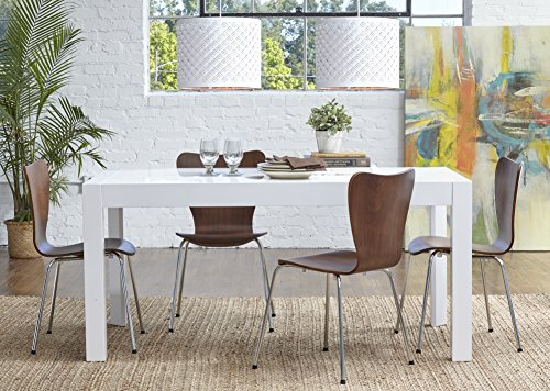 Adara Wood - Euro Style Adara Rectangle Extension Table in White Lacquer & Tendy Stacking Side Chair in Walnut with Chrome Legs - Set of 4