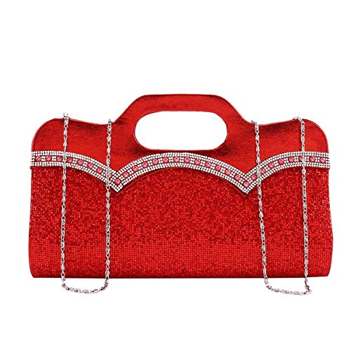 Silver Beaded Top Evening Clutch Women Handle Damara Paillette Glitter Wqw1Bf8f4O