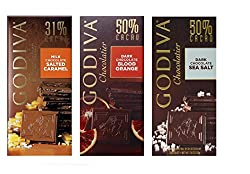 Godiva Chocolatier, 3 Variety Pack,3.5 Oz Each, ( Dark Chocolate Blood Orange, Milk Chocolate Salted Caramel, Dark Chocolate Sea Salt), (Pack Of 3)