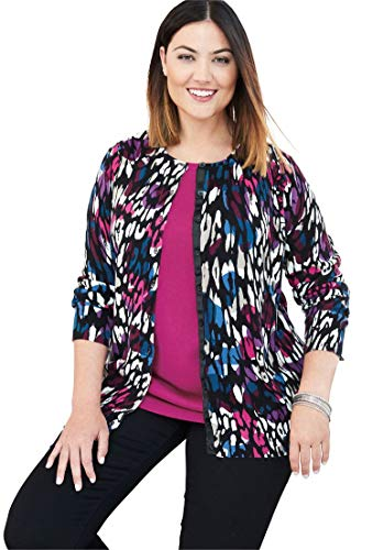 Jessica London Women's Plus Size Fine Gauge Cardigan Purple Bouquet,22/24 ()
