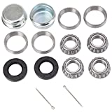 XiKe Trailer 25mm Axle Wheel Bearings Kit, 30205 25x52x16.25mm, Seal TC 30x52x10mm and Dust Cover, Rotary Quiet High Speed and Long Life, Tapered Roller Bearings.