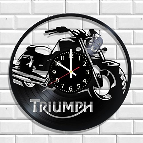 Triumph Motorcycles design vinyl record wall clock, Triumph Motorcycles poster (Motorcycle Design)