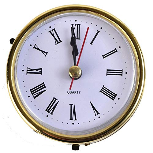 (ASGV 2 1/2 (65mm) Quartz Clock FIT UP/Insert, Gold Trim, Roman Numeral, White Face)