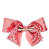 Claires Girls JoJo Siwa Large Pink Sequin Signature Bow in Pink