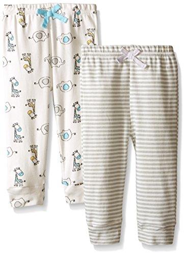 BON BEBE Baby Best Friends 2 Pack Assorted Pant Set, Neutral, 3-6 Months