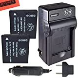 Pack of 2 DMW-BCF10 Batteries & Battery Charger for Panasonic Lumix DMC-TS2 DMC-TS3 DMC-TS4 DMC-F2 DMC-F3 DMC-FH1 DMC-FH3 DMC-FH20 DMC-FH22 DMC-FS6 DMC-FS12 DMC-FS15 DMC-FS25 DMC-FS42 DMC-FS62 DMC-FT1 DMC-FP8 DMC-FX700 Digital Camera + More!!