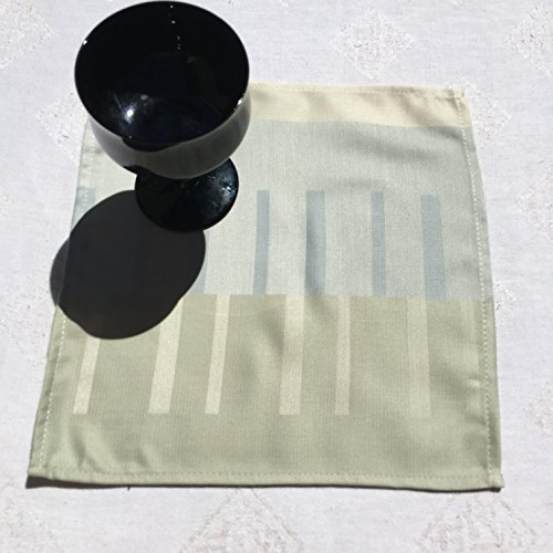 Napkins, Small Cotton Napkin Set of 6 Napkins, Pale Blue, Green and Tan,. Measures 9.5 by 9.5 Inches (Pale Blue Dinner Set)