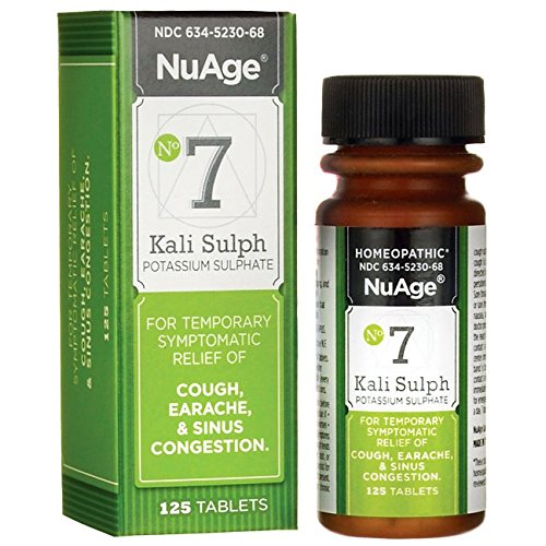 NuAge #7 Kali Sulphuricum 6X Tablets, Natural Relief of Cough, Earache, and Sinus Congestion, 125 - Earache Reliever Pain