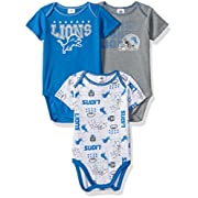 NFL Detroit Lions Boys Short Sleeve Bodysuit (3 Pack), 3-6 Months, Blue