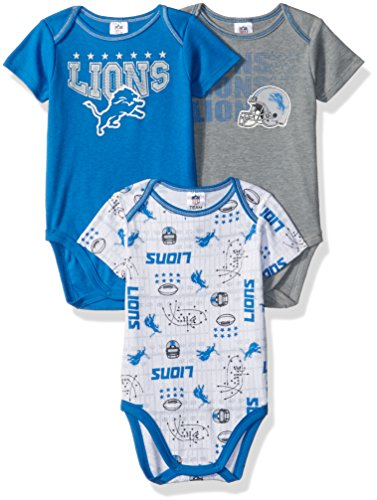 NFL Detroit Lions Boys Short Sleeve Bodysuit (3 Pack), 6-12 Months, Blue