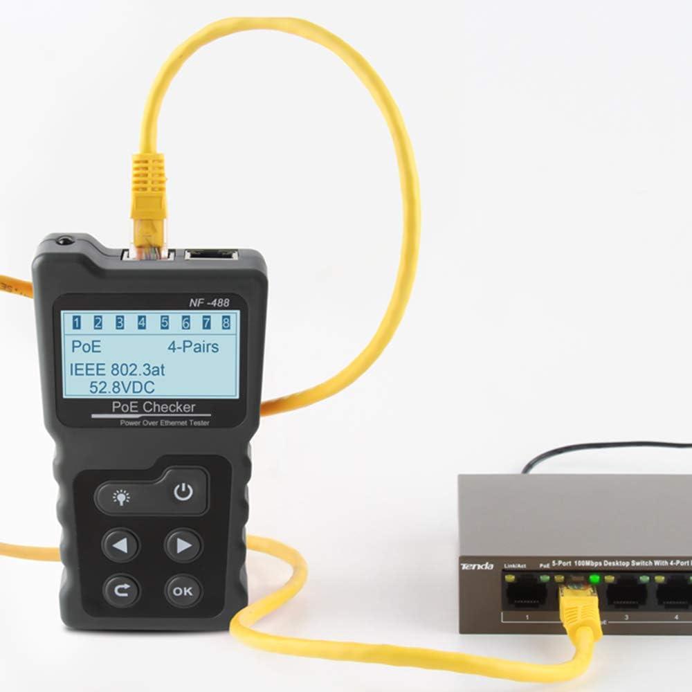 Poe Checker Multifunktionaler LCD-Netzwerkkabeltester Inline-Poe-Spannungs- und Stromtester mit Kabeltester WIRE TRACKER Fesjoy