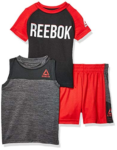 Reebok Baby Boys Sleeve Athletic T-Shirt, Tank Top, and Short Set, Playa True Red, ()