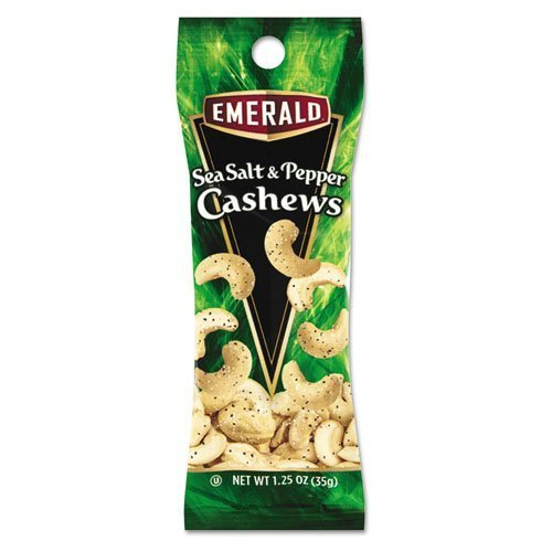 Emerald Sea Salt and Pepper Cashews, 1.25 oz. Tube Package, 12/Box by Emerald (1.25 Ounce Packages)