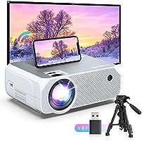 WiFi-projektor, BOMAKER trådlös skärmspegling och gjuten skärm utomhusfilmprojektor, HD bärbar HDMI-projektor, 5000 Lux,...
